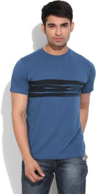 Kenneth Cole Reaction Solid Mens Round Neck Blue T-Shirt (Flat 60% OFF) -96I