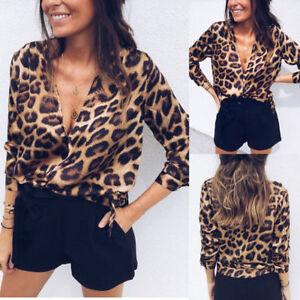 91e1705b153c3f UK Women V Neck Ladies Leopard Print Long Sleeve Loose T Shirt Tops ...
