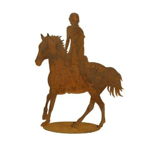 Cowboy Pferd Reite Cowboyhut Edelrost Gartenstecker Skulptur Metall Rost  Garten