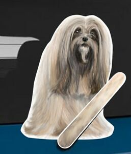 Lhasa Apso Dog Rear Car Window Sticker With Wagging Tail To Fit On Wiper Arm