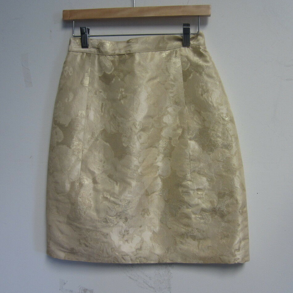 ASPREY CREAM METALLIC gold SILK BLEND SKIRT SZ 6