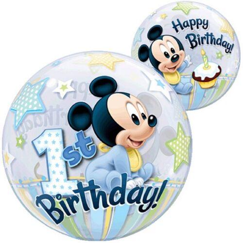 Mickey Mouse 1st Cumpleaños suministros de Decoración Fiesta Globo Esfera De Burbuja