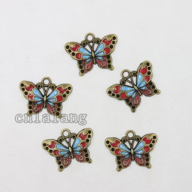 10x New Arrival Vintage Bronze&Enamel Alloy Butterfly Charms Pendants Findings C