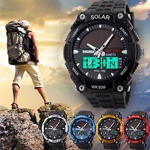 SKMEI-Men-Solar-Power-Sport-Dual-Time-LED-Digital-Waterproof-Analog-Quartz-Watch