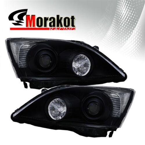 For 07-12 Honda CRV Projector Black Housing Headlights Clear Reflector Lamps