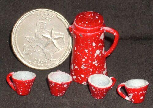 Coffee Pot /& Mugs Red Splatterware 1:12 #D6924 Dollhouse Miniature Chuckwagon