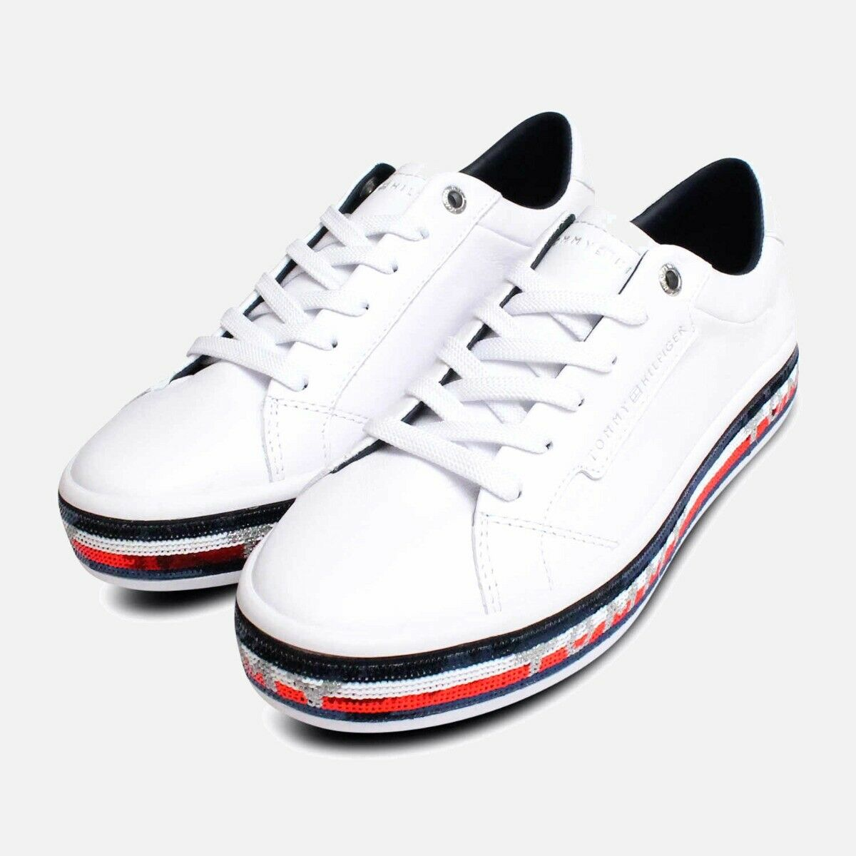 Tommy Hilfiger White Red & Blue Sequin Leather Sneakers