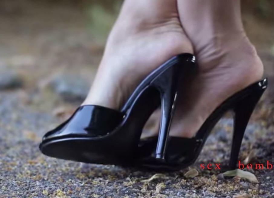 SEXY sabot sandalo domina nero lucido TACCO spillo 15 DAL 35 AL 44 GLAMOUR !