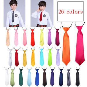 Vesuvio-Napoli-Boy-039-s-CLIP-ON-NeckTie-Solid-CORAL-PINK-Color-Youth-Neck-Tie