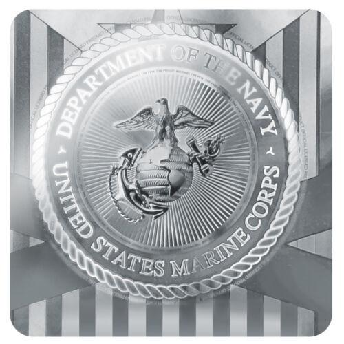 Marines USMC White on Black Logo Metal Chrome Badge ID Card Holder