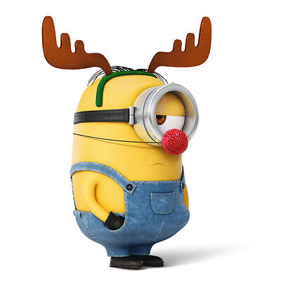Minions Christmas.Iron On Transfer Minion Christmas Reindeer Size 15x10cm Despicable Me Ebay