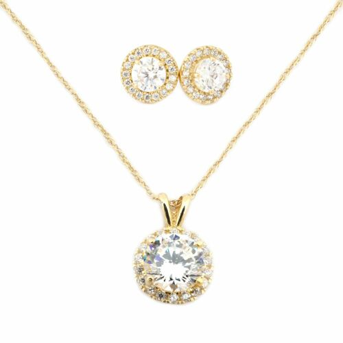 14k Yellow or White Gold Cubic Zirconia Halo Necklace and Earrings Set