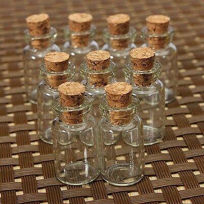 10/50Pcs 1ml 23x13mm Empty Small Clear Glass Bottles Vials Cork Message Jewelry
