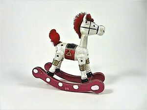 Vintage-Wooden-Happy-Rocking-Horse-Ornament-Red-White-Christmas-Tabletop-Decor