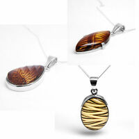 925 Sterling Silver Genuine Baltic Amber Modern Pendant Necklaces Gift Sale