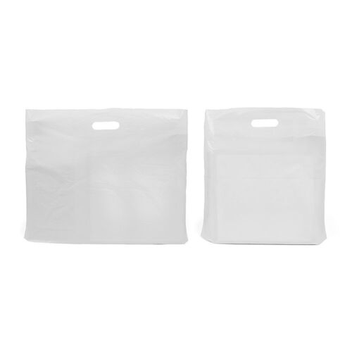 Strong Plain White Patch Handle Carrier Gift Shopping Plastic Bags Retail Shop