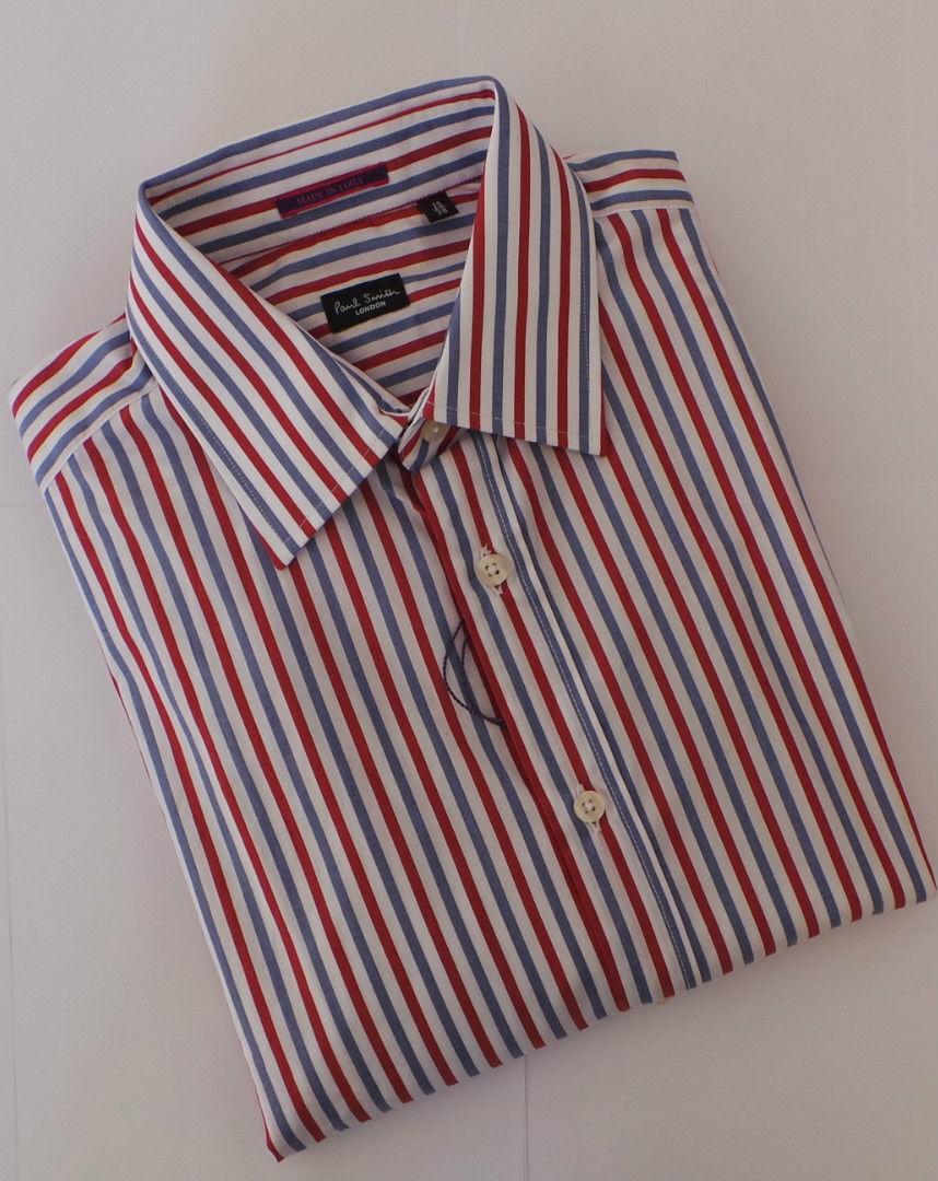 Paul Smith Shirt Size 15 Medium Red bluee Stripes LONDON RANGE