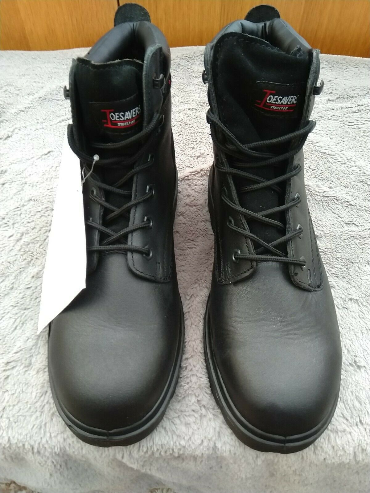 Toesavers Black Safety Work Boots Shoes Leather Steel Toe Cap Size 10/44