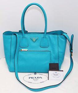 ae690e11c362 NWT PRADA Vitello Daino Leather Bag New   Authentic (Turquoise color ...