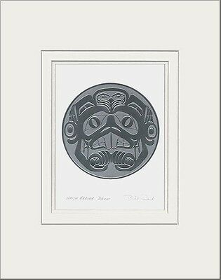 Haida artist BILL REID Embossed SILVER BEAVER DRUM matted art print
