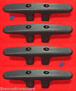 """4X Black 4.5"""" NYLON CLEAT Boat Marine Dock Anchor Line HQ Rope Holder Tie-Down"""
