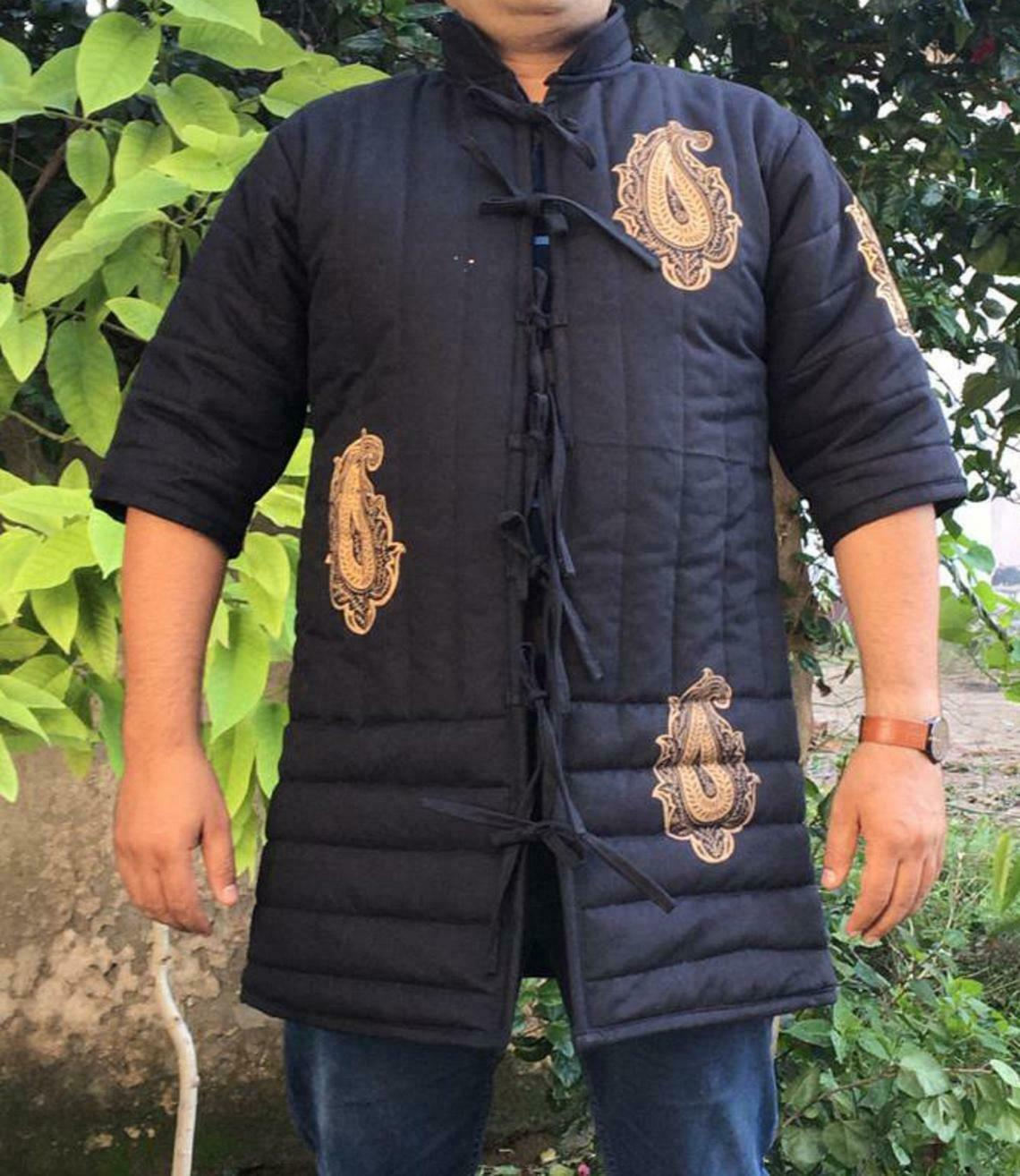 Medieval Gambeson With Paint for SCA Larp,Thick padded black color gambeson