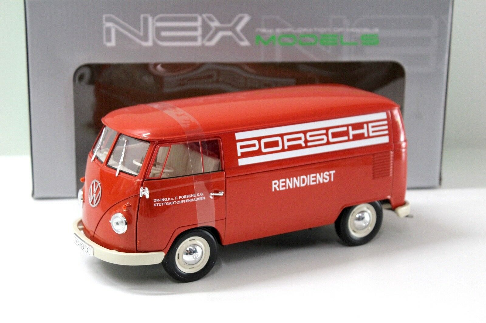 1 18 Welly VW T1 BUS PORSCHE-RENNDIENST rouge NEW bei PREMIUM-MODELCARS
