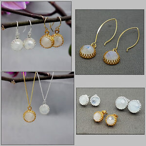 Various-Sterling-Silver-14Ct-Gold-Vermeil-Moonstone-Drop-Stud-Earrings-Necklace
