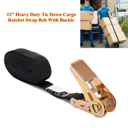 12ft//3.6m Heavy Duty Tie Down Cargo Ratchet Strap Belt With Buckle Black Webbed
