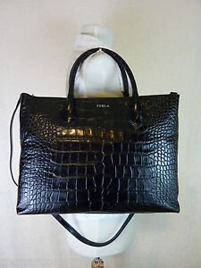 Image Is Loading Furla Black Croc Embossed Leather Martha Tote Xbody