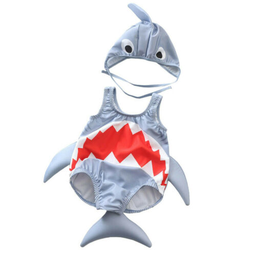 Toddler Kids Baby Girls Boys Cartoon Shark Swimsuit Bikini Swimwear Bathing Suit