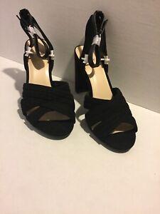 Nine-West-Women-s-Norellao-Block-Heel-Buckle-Ankle-Black-Suede-Size-10M