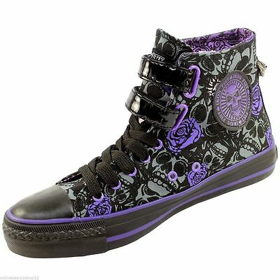 WOMENS IRON FIST MUERTE PUNK HI TOP TRAINERS/ANKLE BOOT SKULLS PRINT SIZE - ALL