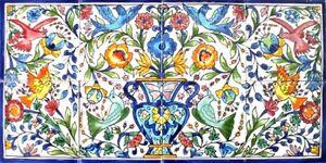 decorative ceramic tiles: mosaic panel hand painted