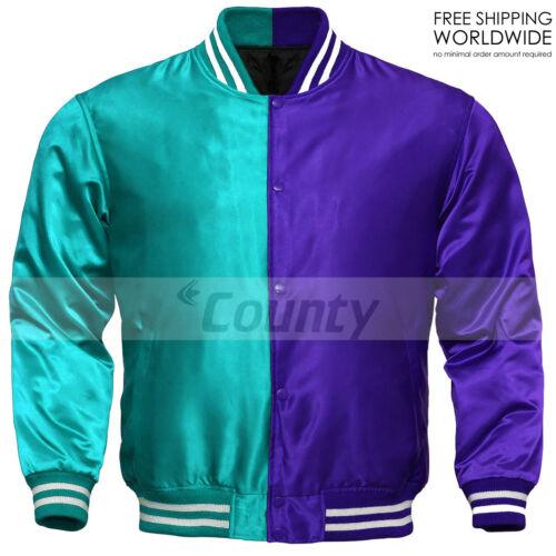 Baseball Letterman College Varsity Bomber Sports Jacket Turquoise Purple Satin