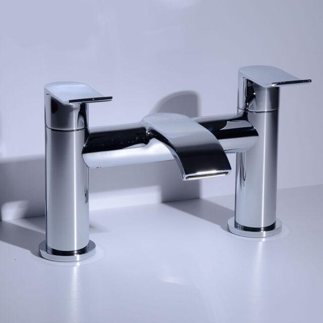Brass Lever Handles Chrome Bath Tub Filler Water Flow Mixer Bathroom Tap 41101