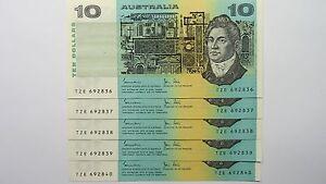 1983-Ten-Dollars-Johnston-Stone-Consecutive-Run-of-Five-Banknotes