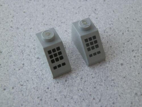 Lego 3040p32# 2x Dachstein Schrägstein 2x1 bedruckt grau alt hellgrau 6597 6380
