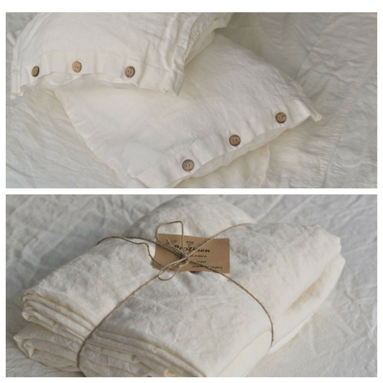 Linen SHEET SET of 4pc Stone Washed sheets and two pillowcases BUTTON Weiß