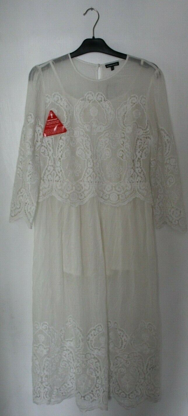 Warehouse Premium Embroidered Midi Dress Ivory Size rrp  DH093 ii 08