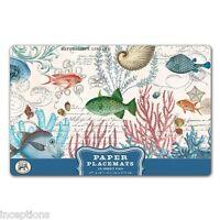 Michel Design Works 17 X 11 Paper Placemats Pad/25 Sea Life Fish Shells -