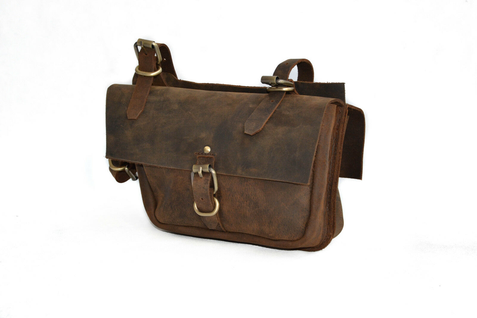 Vintage Leather Bicycle Frame Bag Pannier DOUBLE SINGLE