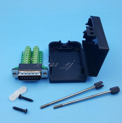 DB15 Male D-SUB 2 Row 15Pin Plug Breakout Terminal Solderless Connector Screw