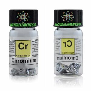 5 grams 99-8% Chromium metal element 24 Cr shiny pieces in labeled glass vial kzUr7fn1-09155304-931655045