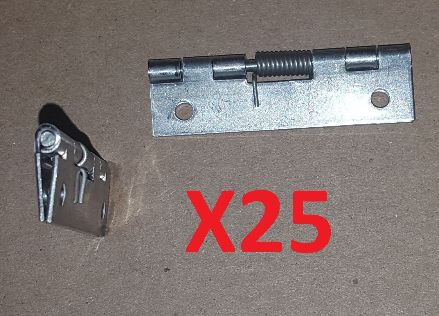 25 pc Stainless Steel Spring Hinge CLOSED 2 x 1 HOLES Cabinet Door Craft Project