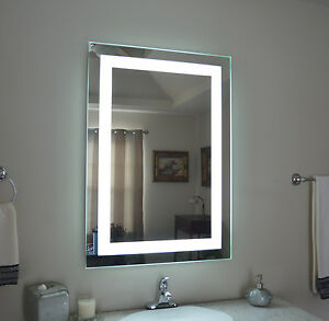 """Front-Lighted LED Bathroom Vanity Mirror: 28"""" x 40"""" - Rectangular - Wall-Mounted"""