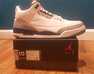 Nike Air Jordan 3 True bluee Size 10.0 With Receipt III White OG 2016 854262-106