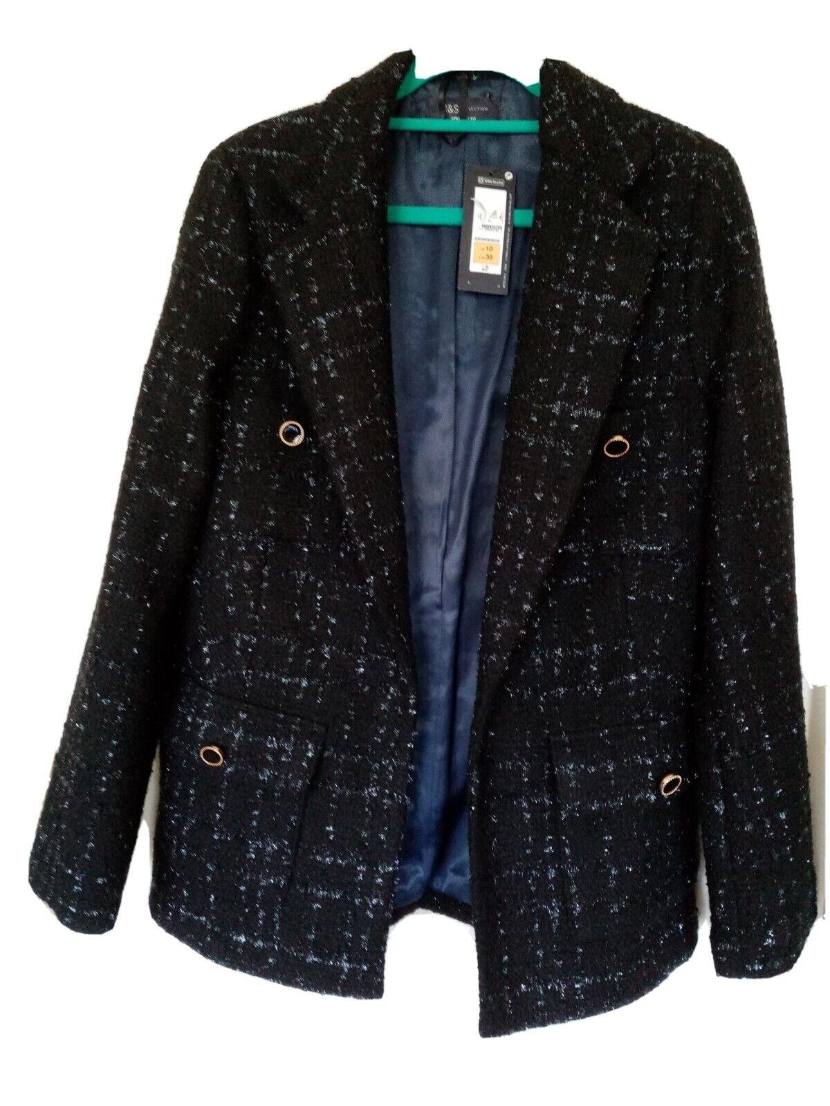 M&S Edge to Edge Boucle Jacket - 4 pockets - Black with metallic thread Size 10
