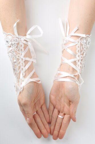 Kids Girls Lace Satin Fingerless White Gloves First Communion Wedding Flower 2