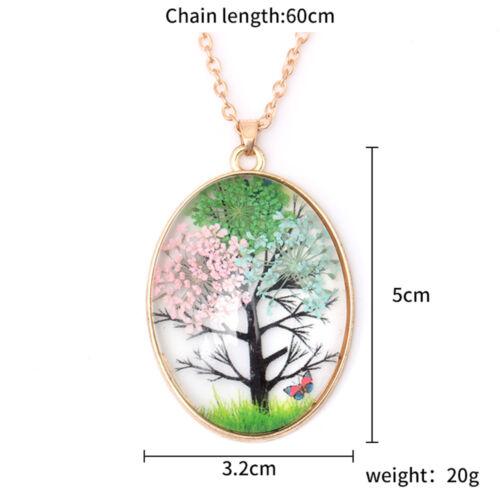 1PC Creative Gift of Natural sec Fleur Arbre Papillon Fait Main Collier Pendentif